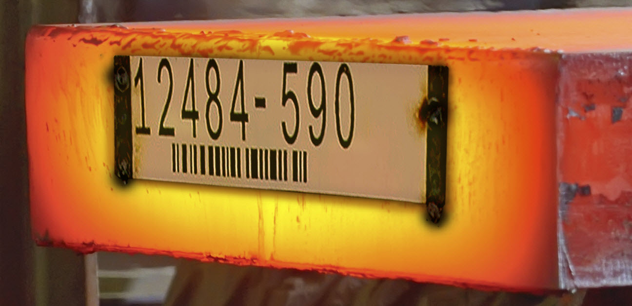 Barcode metal tag on hot slab